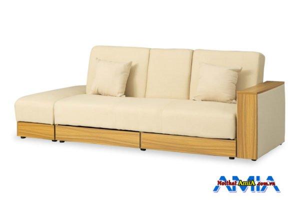 Mẫu ghế sofa gỗ Sồi hiện đại màu kem sữa đẹp