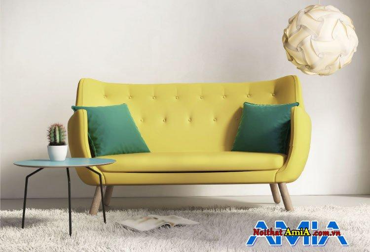 Hình ảnh mẫu ghế sofa văng nhỏ gọn màu vàng xanh
