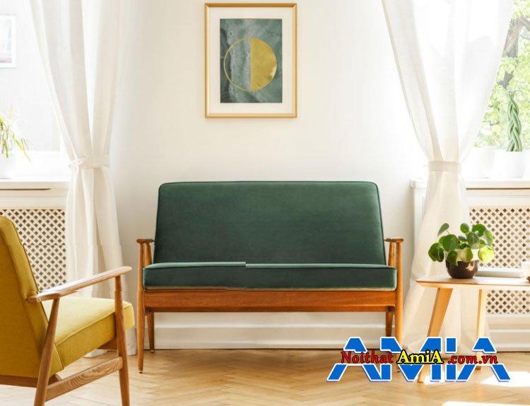 Hình ảnh mẫu ghế sofa gỗ màu xanh nhỏ gọn hiện đại