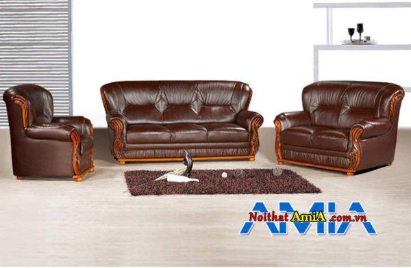 Bộ sofa da văn phòng cao cấp màu nâu AmiA SF1992219