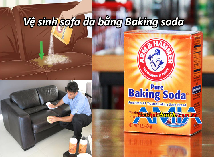 Cách vệ sinh sofa giả da bằng baking soda