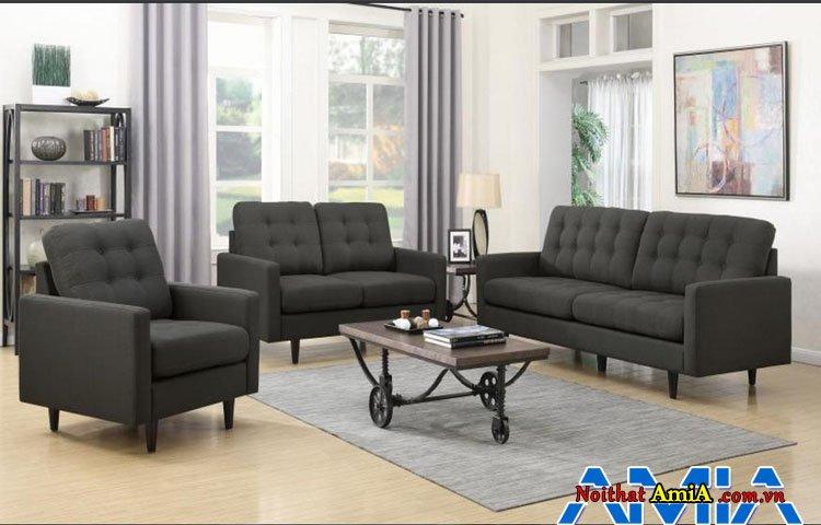 Hình ảnh bộ bàn ghế sofa nỉ bọc màu đen đẹp sang trọng