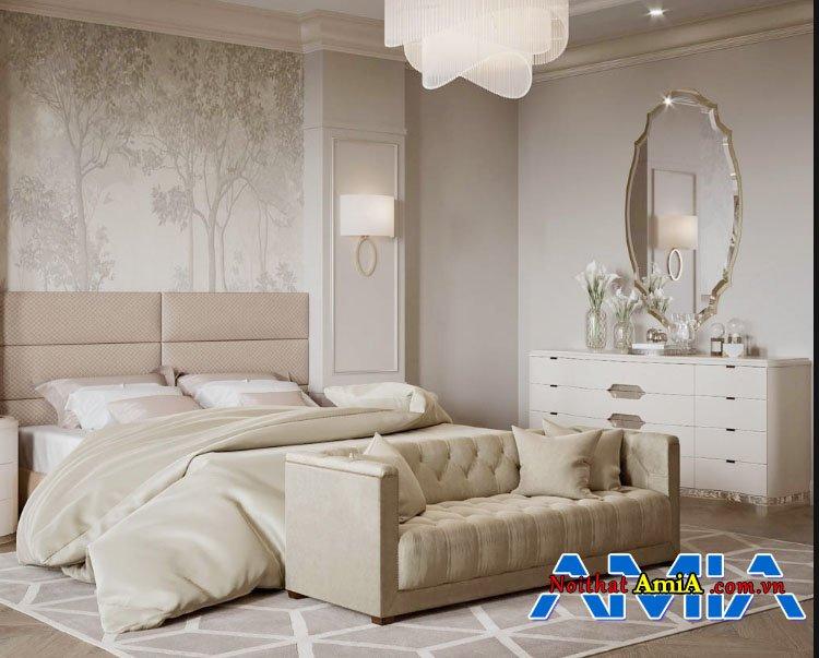 Kiểu ghế sofa văng thiết kế tân cổ điển đơn giản cho phòng ngủ