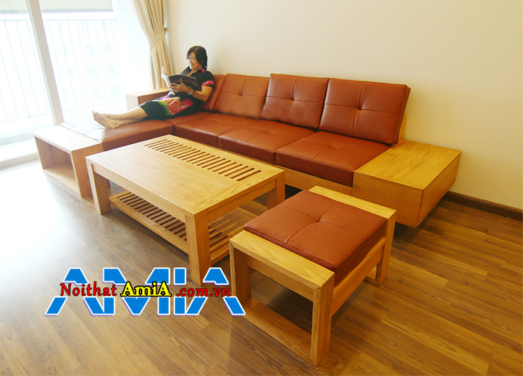 Mẫu ghế sofa da gỗ đẹp phòng khách