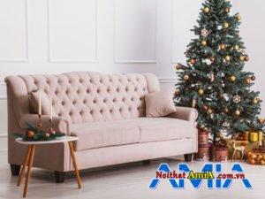 Sofa văng nỉ màu hồng tân cổ điển AmiA Sofa văng da thiết kế tân cổ điển AmiA SFD2208
