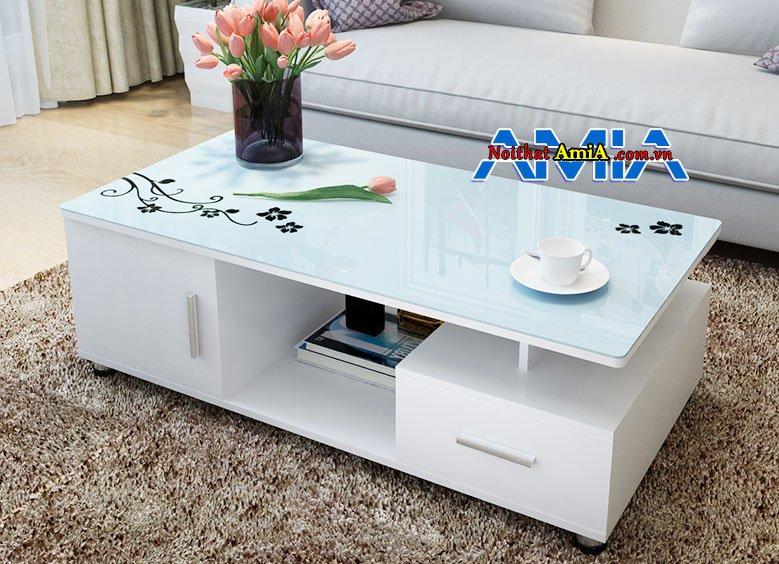 mẫu bàn trà gỗ chữ nhật kính trắng đẹp