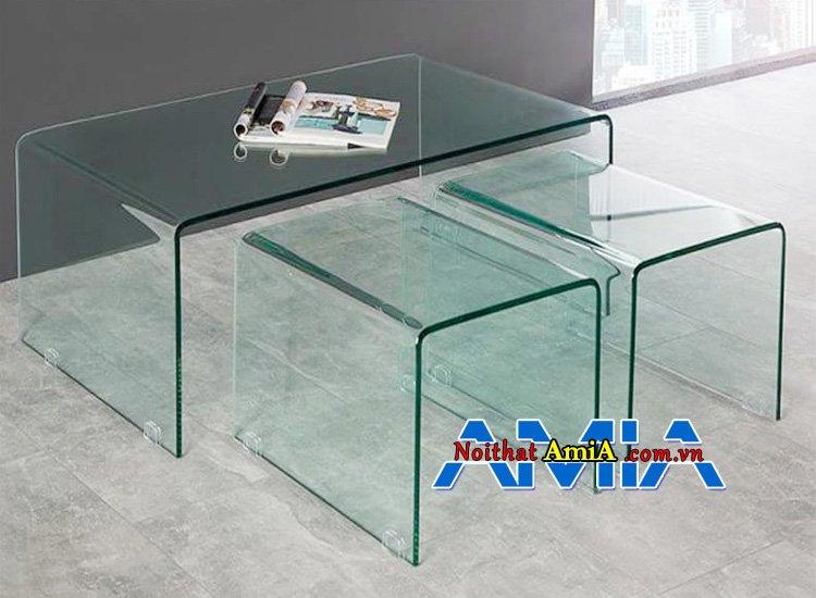 ảnh bàn trà hình vuông kính cường lực đẹp