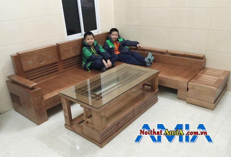 Bộ bàn ghế sofa chữ l bằng gỗ sồi đẹp