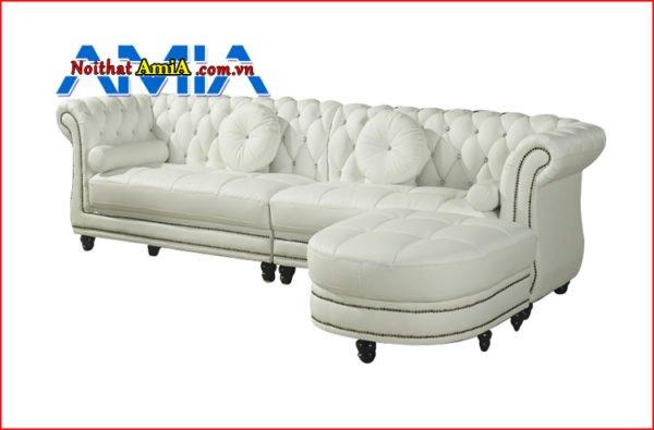 sofa da tân cổ điển cao cấp