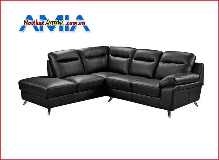 Sofa góc da màu đen