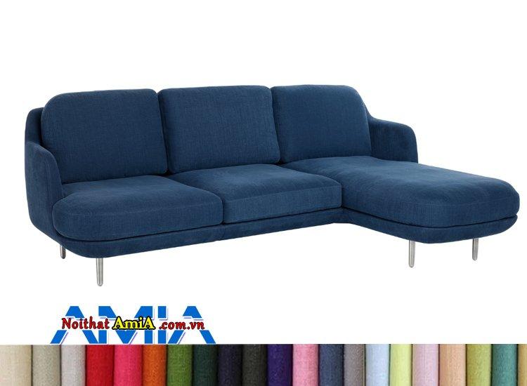 sofa nỉ 3 chỗ chữ L xanh Coban