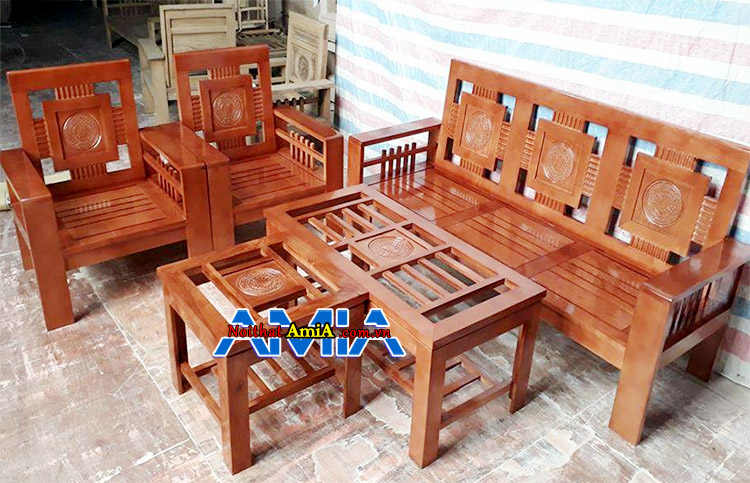 Hình ảnh bàn ghế sofa gỗ cho phòng khách nhỏ