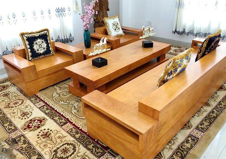 Hình ảnh bộ bàn ghế gỗ Hương cho phòng khách nhỏ gọn cao cấp