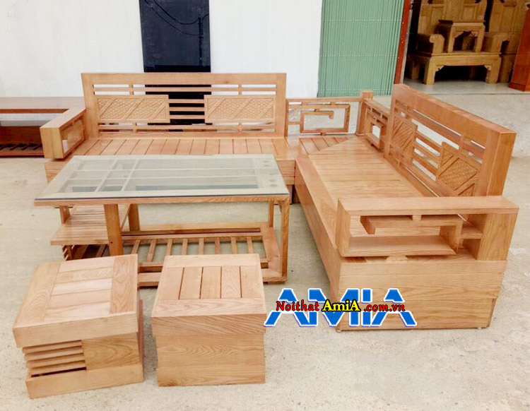 Hình ảnh bộ bàn ghế gỗ mini cho phòng khách nhỏ góc L