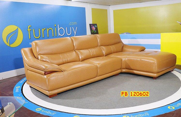 Hình ảnh ghế sofa nhỏ gọn chữ L bọc da cao cấp