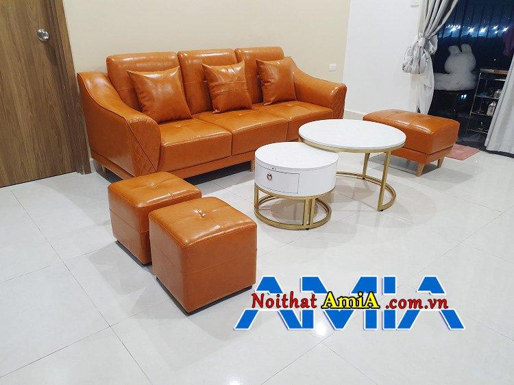 Hình ảnh ghế sofa phòng khách nhỏ giá rẻ dưới 8 triệu màu cam đẹp