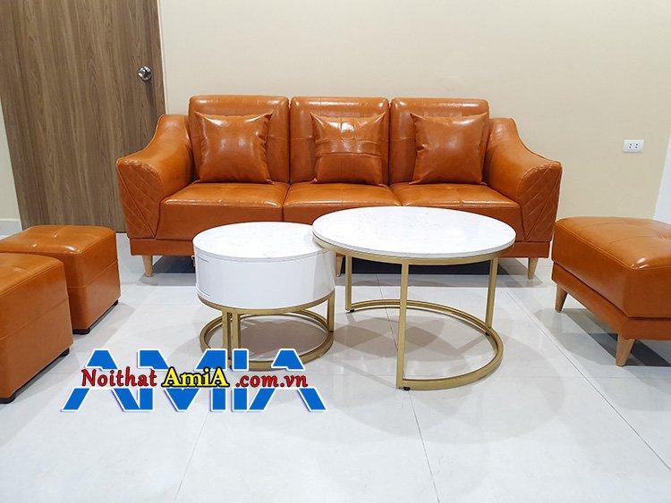 Hình ảnh ghế sofa văng da đẹp màu cam 3 chỗ
